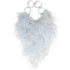 VANINA バニーナ ハンドバッグ フェザーライトブルー L'oiseau Rebelle feather-embellished acrylic tote|aurora-and-oasis