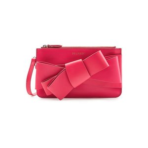 DELPOZO デルポゾ クラッチバッグ マゼンタピンク Bow Leather Clutch|aurora-and-oasis