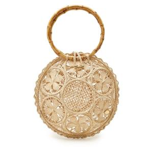 SORAYA HENNESSY ソラヤヘンネシー ハンドバッグ ベージュ The Ana Handwoven Handbag with Bamboo|aurora-and-oasis