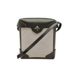 MANU ATELIER マニュ アトリエ ショルダーバッグ ブラック Mini Pristine Cotton and Leather Shoulder Bag|aurora-and-oasis