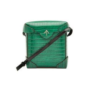 MANU ATELIER マニュ アトリエ ショルダーバッグ グリーン Mini Pristine Embossed Leather Shoulder Bag|aurora-and-oasis