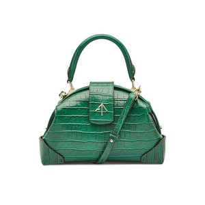 MANU ATELIER マニュ アトリエ ハンドバッグ グリーン Embossed Leather Demi Top Handle Satchel|aurora-and-oasis