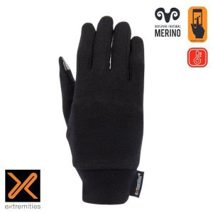【エクストリミティズ extremities】メリノタッチライナーグローブ_ブラック (インナーグローブ/手袋) auroralodge