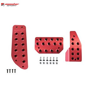 [Monster Sport] モンスタースポーツ スポーツドライビングペダルカバー&フットレストカバーセット(レッドアルマイト)【 ジムニー [JB23W] AT車 】|auto-craft