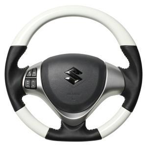 [REAL] レアル ステアリング  ホワイトカラー (ホワイトステッチ) ハスラー MR31S MR41S H26(2014).1〜 auto-craft