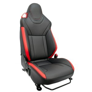 [G'BASE] ジーベース デザインシートカバー コペン LA400K 純正レカロ用 ブラック×レッド 【DAIHATSU COPEN [LA400K] Robe S / XPLAY S / Cero S】|auto-craft