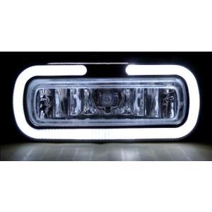 送込 汎用 フロント フォグランプ ライト ホワイトLEDイカリング|auto-parts-jp