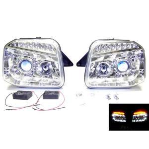 送込 ジムニー JB23 LED プロジェクター ヘッド ライト クローム auto-parts-jp