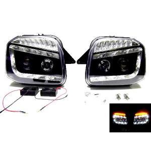 ジムニー JB23 LED プロジェクター ヘッド ライト ブラック|auto-parts-jp