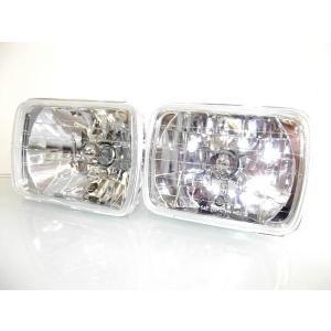送料無料 汎用 角型 フロント角ヘッドライト ガラスレンズ 新品 左右SET|auto-parts-jp