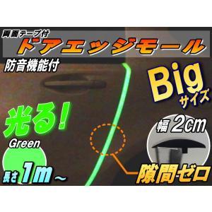 シリコン ドアモール (T型) 緑// 蓄光タイプ 夜間光る グリーン 長さ1m  (100cm) 新型 汎用 エッジガード 3M社製 両面テープ 貼付済 風切音 静電気 防止|auto-parts-osaka