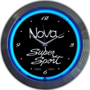 シボレー ノヴァ SS NOVA  15インチ ウォールクロック 壁掛け時計 ネオンクロック GM ...