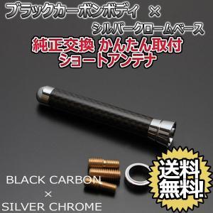 本物カーボン ショートアンテナ スズキ ラパン HE21S ブラックカーボン/シルバーメッキ 固定タイプ|autoaddictionjapan