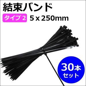 結束バンド / タイラップ (タイプ2 (5x250mm))(黒) (30本セット)|autoagency