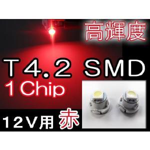 T4.2 / 1chip SMD / 赤 / 2個セット / 超高輝度 / メーター/エアコン/灰皿球に|autoagency