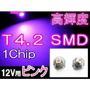 T4.2 / 1chip SMD / (ピンク) / 2個セット / LED / メーター・エアコン・灰皿球に / 超高輝度|autoagency