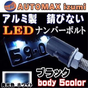 アルミナンバーボルト 黒 ブラック/LEDナンバーボルト,汎用/防水.バイク.LEDナンバー灯ボルト.LED内臓ボルトナンバー灯.ボルトLED|automaxizumi