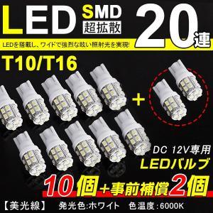 【即納】メール便送料無料!T10/T16 LED SMD 20連 ホワイト 12個セット 数量限定 5050SMD ハイパワー LED ホワイト 寿命超長ウェッジ球着 autoone