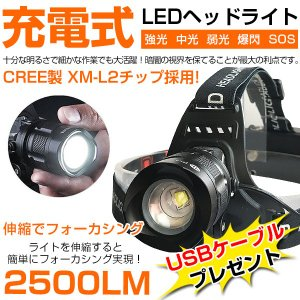 LEDヘッドライト 米国 CREE製 充電式 2500ルーメ...