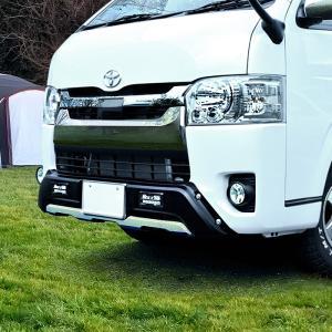 200系 ハイエース 4型 5型 LEDデイライト付き   フロントバンパーガードオフロード仕様新品...