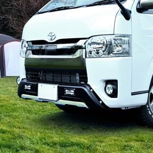 200系 ハイエース 4型 5型 標準 フロント バンパー ガード  LED デイライト付き オフロ...