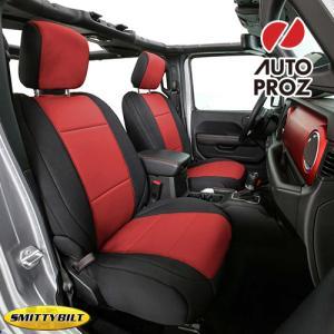 Smittybilt 正規品 ジープ JLラングラー 4ドア 2018年式以降 NEOPRENE シートカバー レッド ※フロント・リアセット|autoproz-usa