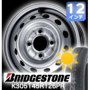 145R12 6PR BRIDGESTONE ブリヂストン  K305 夏タイヤ + 12インチ スチールホイール 4本セット|autoweb