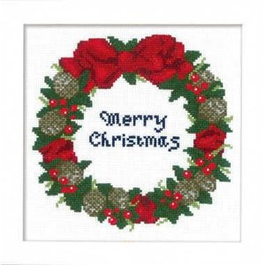 【オリムパスOLYMPUS】刺しゅうキット X-106クリスマス クロスステッチキット木の実のリース 【取寄せ品】【C3-7】U-OK|avail-komadori