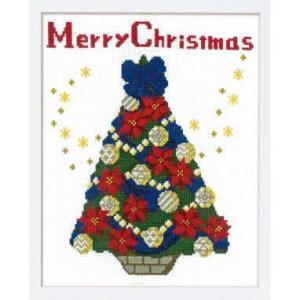 【オリムパスOLYMPUS】刺しゅうキット X-107<BR>クリスマス クロスステッチキット<BR>聖夜のツリー<BR>【取寄せ品】<BR>【C3-7】U-OK|avail-komadori