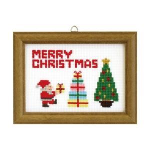 【オリムパスOLYMPUS】刺しゅうキット X-88<BR>「クリスマスステッチ」 額付(サンタ&ツリー)<BR>【取寄せ品】<BR>【C3-7】U-OK|avail-komadori