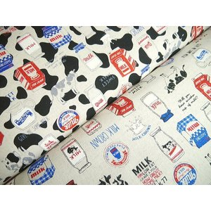AP85409-2 綿麻キャンバスプリント COW & MILK◆◆(数量×50cm)【C2-6】U2|avail-komadori