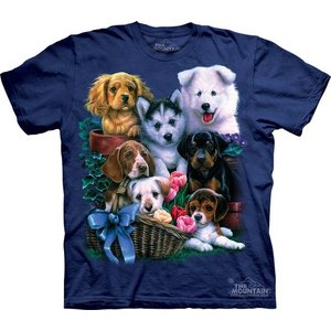 Tシャツ The Mountain: Puppy Collage (メンズ イヌ 子犬)|avees