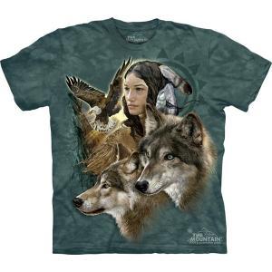 The Mountain Wild Spirit Maiden (メンズ インディアン 少女 ホワイトウルフ メーカー直輸入品 Tシャツ)|avees