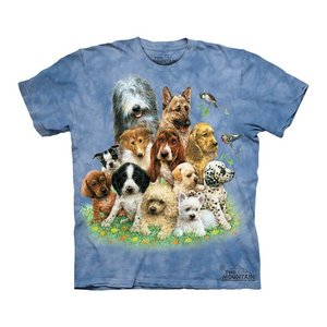 Tシャツ The Mountain: Puppies in Grass (キッズ イヌ 子犬)|avees