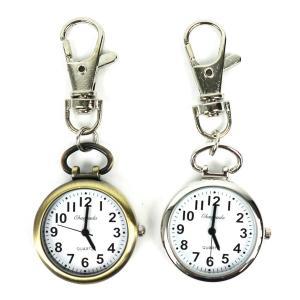 (黒色針) キーチェーンウォッチ 小さな時計 フックウォッチ 懐中時計 ナースウォッチ キーホルダー シンプル