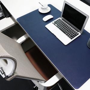 デスクマット 大型マウスパッド もちもち柔らか PUレザー製 青&黄色のリバーシブル 80cm×40cm (ブルー×イエロー)|avekt