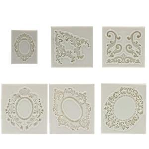 ハンドメイド 彫刻フレーム シリコンモールド 6個セット レジン 樹脂粘土 石膏 キャンドル 抜き型 ホワイト|avekt