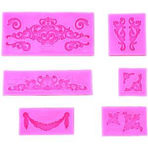 ハンドメイド シリコンモールド 彫刻風 レジン 樹脂粘土 アクセサリー 抜き型 6個セット ピンク|avekt