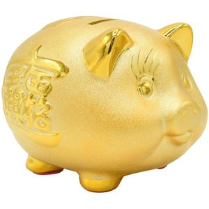 貯金箱 金色のブタ 開運 金運 縁起物 風水 かわいい めでたい インテリア ピギーバンク (大)|avekt