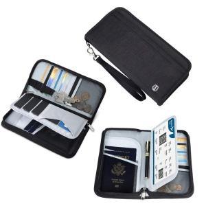 送料無料 ブラック パスポートケース スキミング防止 国内海外旅行用品 通帳ケース 航空券 紙幣 カ...