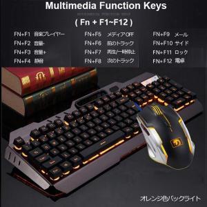 送料無料 ゲーミングキーボード マウス セット M398 防水機能付き バックライト 英語配列 26キーアンチゴースト 有線 APC-015a|avenir7