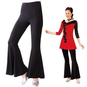 ダンスパンツ 裾フレアーパンツ 黒パンツ KN-021-3261 フォーマル 衣装 ステージ 発表会 レッスン 裾フレアー|avivare
