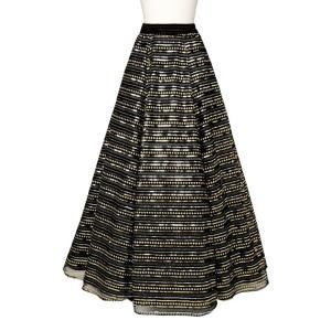 ロングスカート スパンコール刺繍スカート SK562-3464 ゴールド ボーダー スパンコール 刺繍 ステージ衣装 コーラス 演奏会 カラオケ 発表会 イベント|avivare