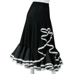 ダンススカート ロングスカート 裾オーガンジー フリルスカート KN-233-3567 黒 白 ダンス 衣装 ステージ|avivare
