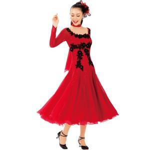 ダンス衣装 ロングドレス レッド レースモチーフドレス 赤 KN-229-3564 ステージ衣装 社交ダンス チョーカー付き Aライン|avivare