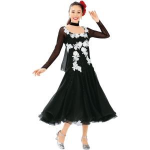 ダンス衣装 ロングドレス ブラック レースモチーフ ドレス 黒 KN-229-3564 ステージ衣装 社交ダンス チョーカー付き Aライン|avivare