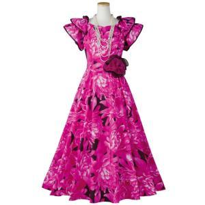 ハワイアン フラダンス フラワープリント ドレス OP431-2-3590 フラドレス ワンピース ...