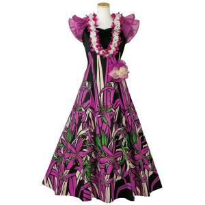 ハワイアン フラダンス コサージュ付き オーガンジー袖 フラドレス OP369-3-3592 ドレス...