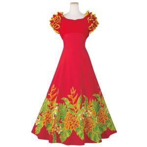 フラダンス フラドレス ワンピース 裾プリント ドレス OP454-3621 ロングドレス 赤 レッ...