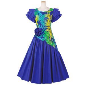フラダンス フラドレス ロングドレス ワンピース 無地切替ドレス OP452-3622 フラダンスド...